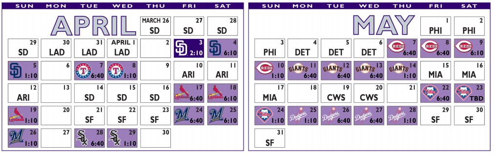 2020 Colorado Rockies Schedule - April and May 2020