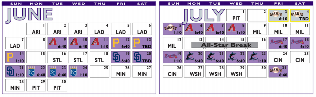 2020 Colorado Rockies Schedule - June and July 2020