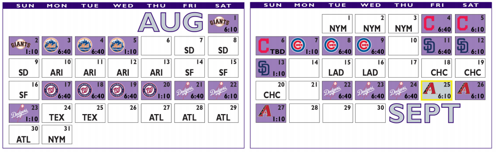 2020 Colorado Rockies Schedule -  August and September 2020