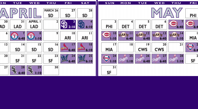 202 Colorado Rockies Schedule